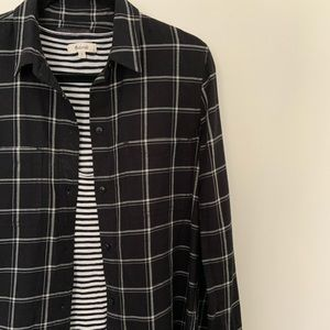 Madewell black and white striped flannel shirt